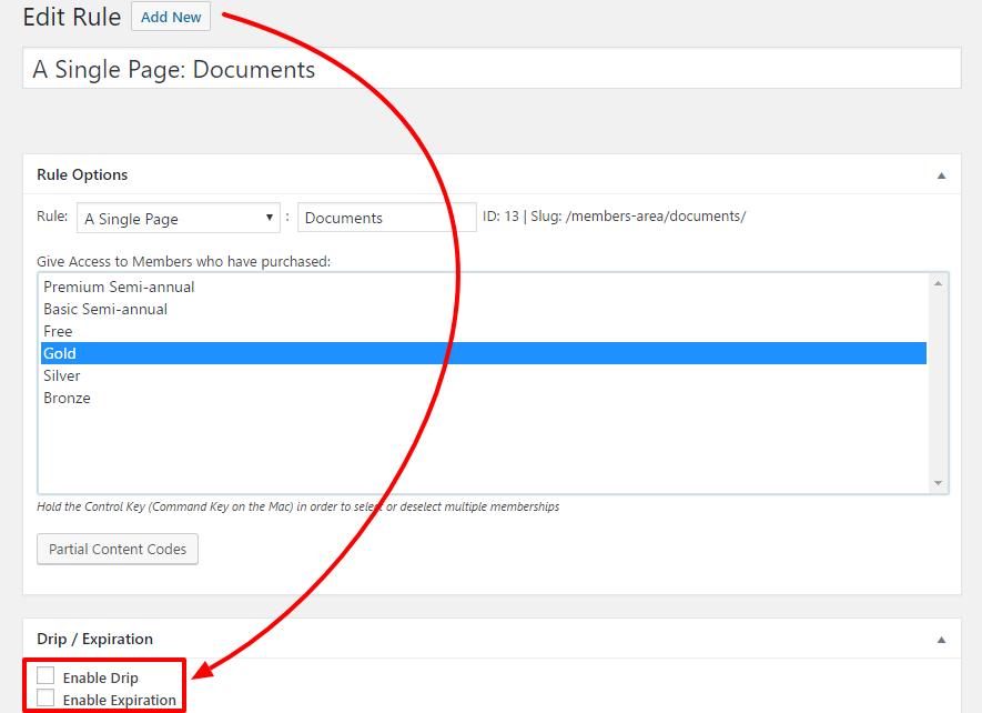 MemberPress Dripping Content feature
