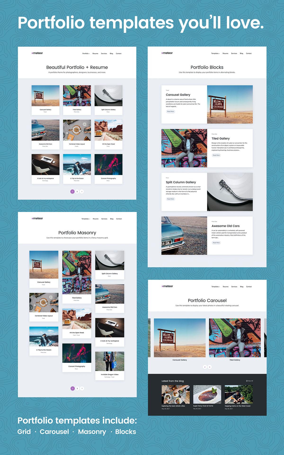 Meteor WordPress Theme Portfolio Templates