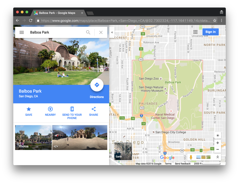 Google maps with search results in a sidebar