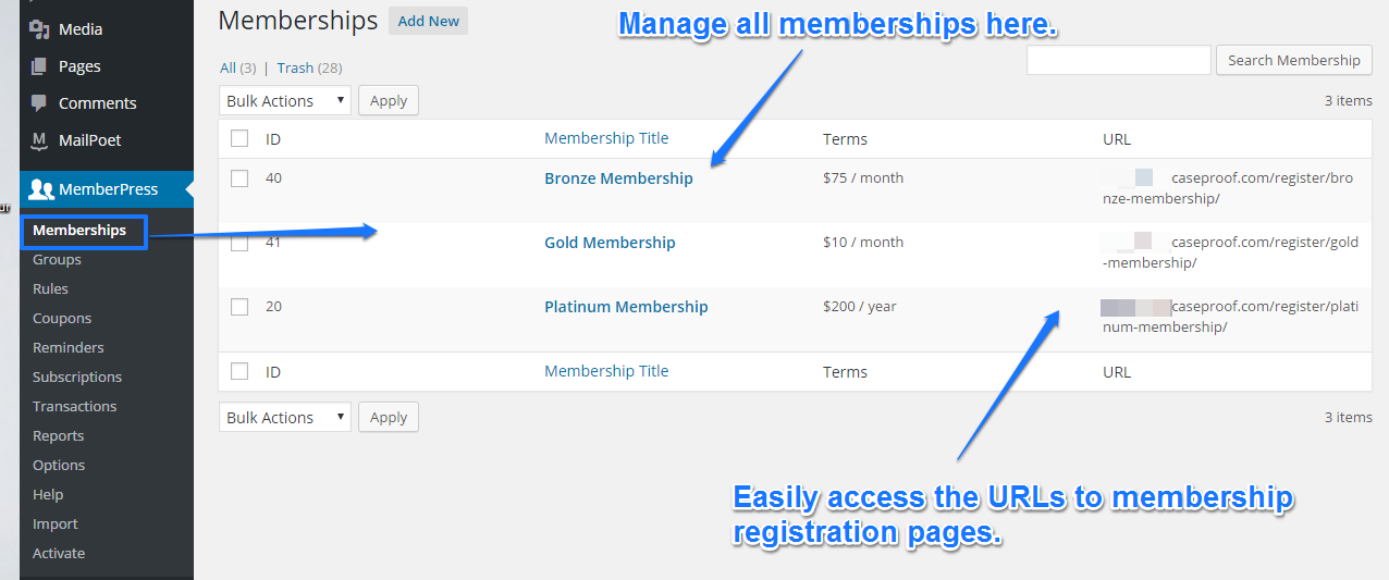 MemberPress Memberships page