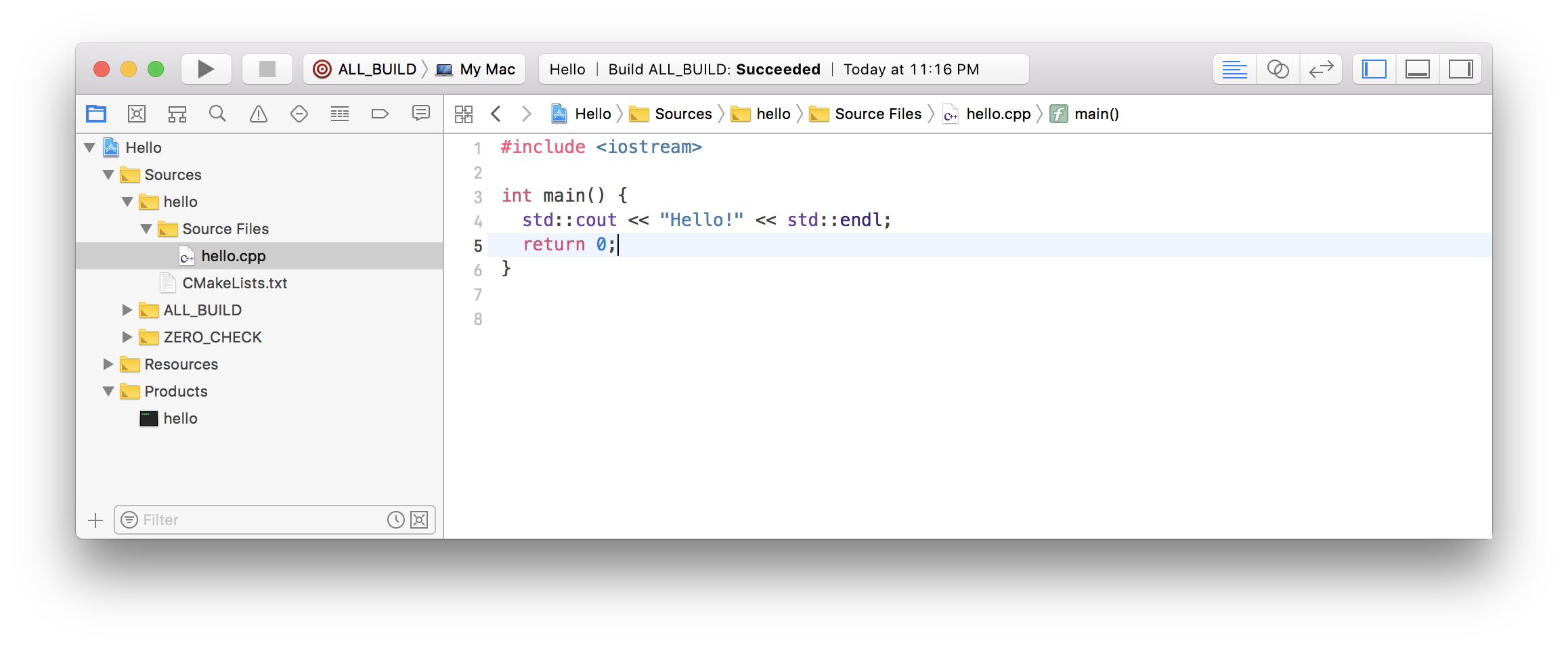 Building the CMake project via the Xcode GUI.