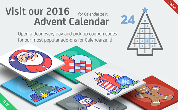 Visit our 2016 Advent Calendar for Calendarize it! and pick up coupon codes for our most popular add-ons!
