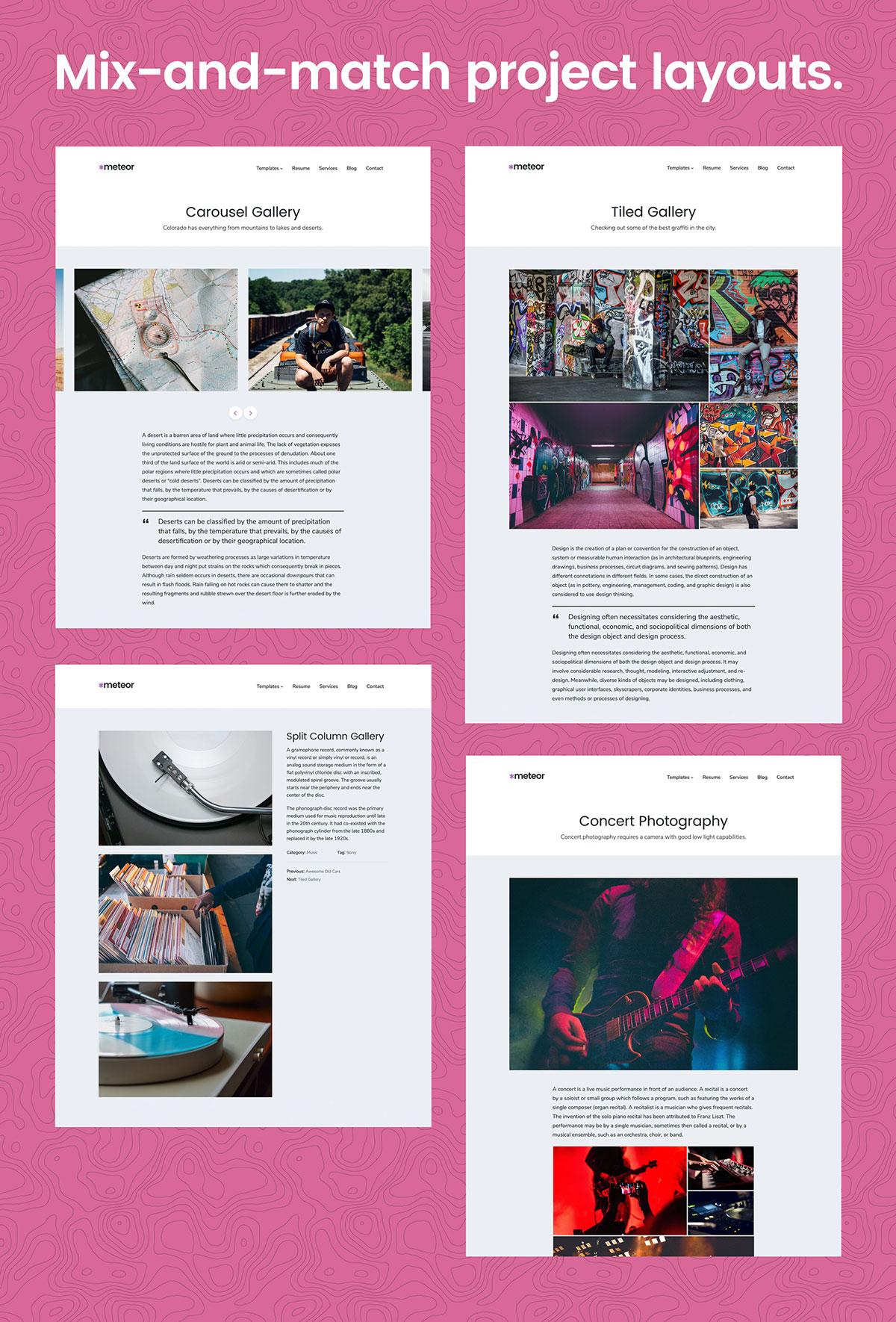 Meteor WordPress Theme Portfolio Layouts